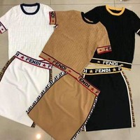 Fendi tide brand female models wild fashion round neck short-sleeved jacquard knit short-sleeved T-shirt + skirt