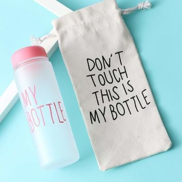 Slogan Water Bottle 500ML With Bag