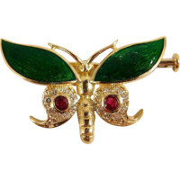Alluring butterfly gold brooch with rubies, diamonds and enamel, stamped 18K solid gold
