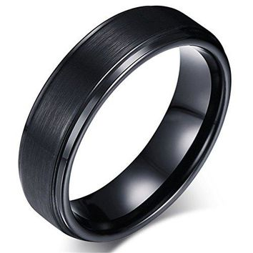 7mm Black Tungsten Carbide Ring Simple Fashion Vintage Wedding Engagement Promise Band Matte Finish