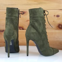 Kayla Army Olive Green Point Toe Lace Up High Heel Ankle Boot Shoe