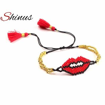 Shinus Lips Bracelet MIYUKI Seed Beads Red Pink Beaded Bracelets Handmade Woven Adjustable Women Jewelry Her Gifts Beadwork Gold