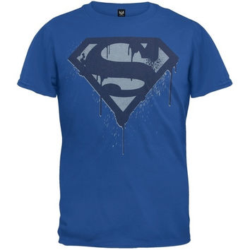 Superman - Dripping Logo Youth T-Shirt - Blue = 1946162628