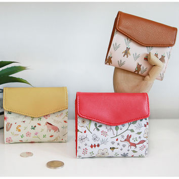 Willow story pattern bifold wallet with coin pocket
