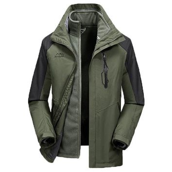 Outdoor Two Piece Breathable Water Repellent Patchwork Warm Jacket for Men