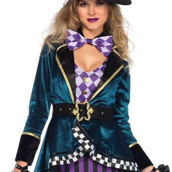 Happy Hatter Dark Blue Purple Black Velvet Diamond Stripe Pattern Bodycon Mini Dress High Low Jacket Halloween Costume