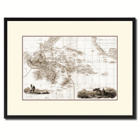 Oceania Australia New Zealand Vintage Sepia Map Canvas Print, Picture Frame Gifts Home Decor Wall Art Decoration