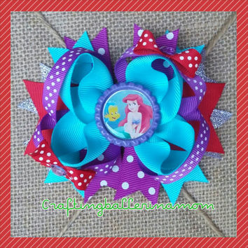 Ariel Hair Bow - Little Mermaid Birthday Hair Bow - Disney Vacation Bow - Disney Princess Hair Clip - Necklace - Ariel Hair Clip - Costume