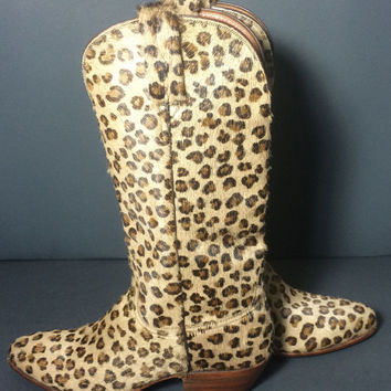 Lucchese 1883 Cheetah Leopard Print Pony Hair Western Cowboy Cowgirl Boots Women's Size 6