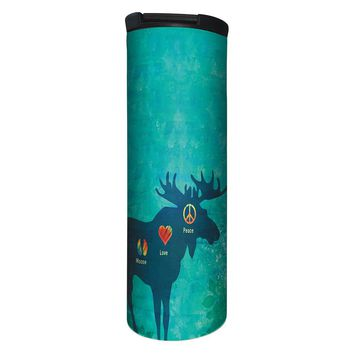 Peace Love Moose Barista Tumbler Travel Mug - 17 Ounce, Spill Resistant, Stainless Steel & Vacuum Insulated