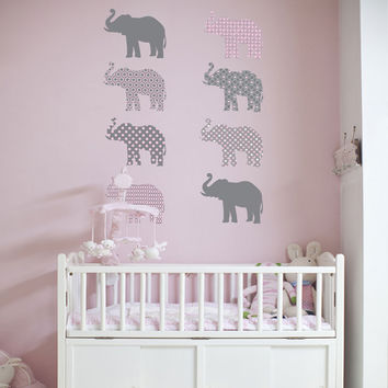 Eight Patterned Gray and Baby Pink Elephant Wall Decals