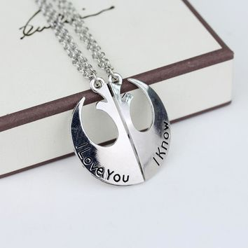 """Star Wars Rebel Alliance Lapel Necklace with Letters""""i love you,i know """" Couples Lovers Charming Pendants Necklaces"""