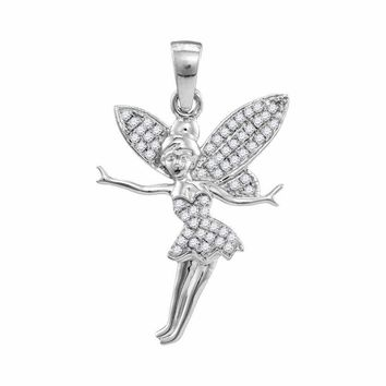 10kt White Gold Women's Round Diamond Tinkerbell Fairy Sprite Pendant 1-4 Cttw - FREE Shipping (US/CAN)