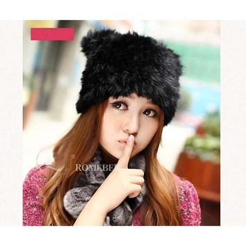 New Lovely Real Rabbit  Fur  Winter caps for women  with  solid colors  for 2016 New Thick Female Cap