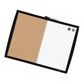 "Quartet Dry Erase Board / Cork Board, Magnetic, 17"" x 23"", Curved Frame, Black ("