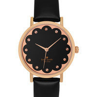 kate spade new york Women's Metro Black Patent Saffiano Leather Strap Watch 34mm 1YRU0583