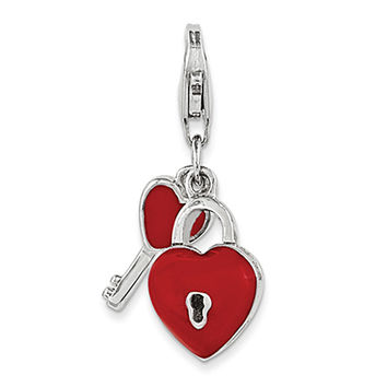 925 Sterling Silver 3D Red Enameled Lock and Skeleton Key Clasp Charm