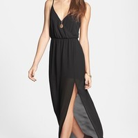 Lush Open Back Chiffon Maxi Dress (Juniors)