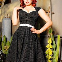 Heidi Dress in Black Pin Dot