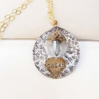 Recycled Dream Necklace  Metal Work Stamped Jewelry Pendant