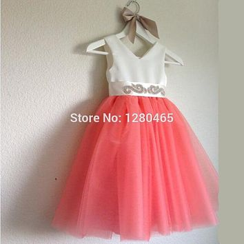 Coral Mint Green Peach Flower Girl Dress with Sash Sequins First Communion Dresses for Girls Pageant Dresses