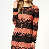 Lola Long Sleeve Knitted Printed Shift Dress