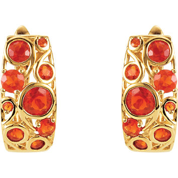 14K Yellow Gold Cabachon Mexican Fire Opal Hinge Hoop Earrings
