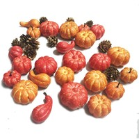 24 Pieces Small Pumpkin and Pinecone set in a PVC Box for Harvest and Thanksgiving Decoration