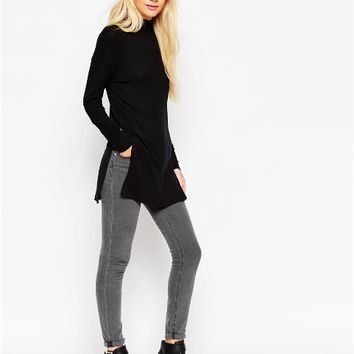 Black High Collar Side Slit Pullover Sweater