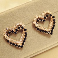 Heart On Heart Rhinestone Fashion Earrings