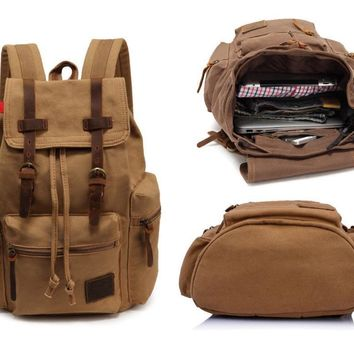 Khaki Vintage Leather Military Canvas Backpack Men's School Shoulder Daypacks High Quality Travel Bag Bagpack Rucksack