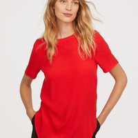 Crêped Top - Bright red - Ladies | H&M US