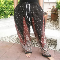 Black Peacock Printed Yoga Pants Hippie Baggy Boho Gypsy Pantalon Tribal Hipster Plus Size Aladdin Clothing Baggy Unisex Harem Wide Legs