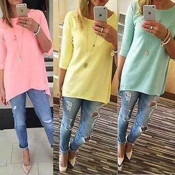 3/4 Sleeve Long Tops Blouse Shirt Ladies Beach BOHO Mini Dress = 1956807748