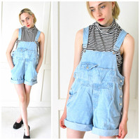 light wash denim OVERALL shorts 80s 90s vintage PALE blue jean BIBS overalls shortalls dungarees medium os