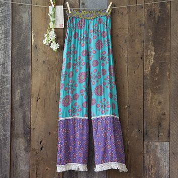 Small/Medium  Turquoise  &  Purple  Indie  Print  Lounge  Pants  From  Natural  Life