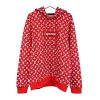 LV SUPREME HOODIE fashion new casual loose lazy hooded sweater pullover