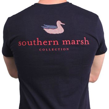 Authentic Flag Tee in Navy by Southern Marsh
