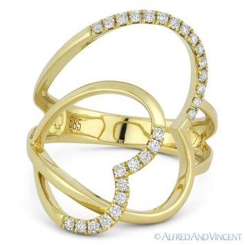 0.25ct Round Cut Diamond Right-Hand Double-Heart Fashion Ring in 14k Yellow Gold
