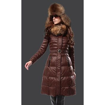 Moncler Fur Hooded Long Down Coat Womens Luxury Outerwear 8815 coffee