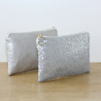 Gray Silver Sequin and Champagne Metallic Leather Clutch / Sparkly Bachelorette Favor / Fancy Bridesmaid Gift Bag - Almquist Design Studio