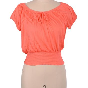 Cute Solid Round Neck Short Sleeve Shirred Smoked Hem Cropped Shirt Top