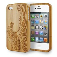Engraved Japanese Painting The Great Wave Off Kanagawa Bamboo Iphone 4 and 4S Case:Amazon:Cell Phones & Accessories