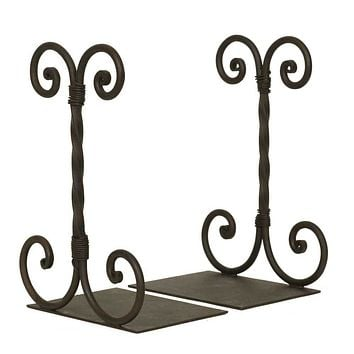 Twirled Scroll Bookends - Wrought Iron