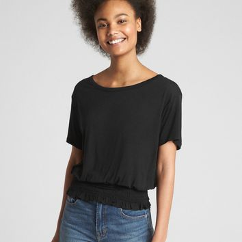 Short Sleeve Smocked Hem Top | Gap