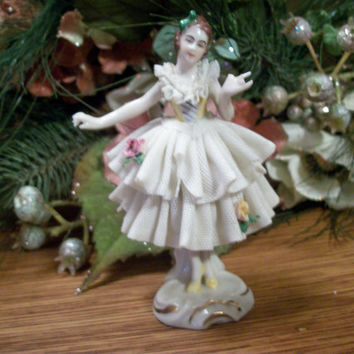 Antique Dresden Collectible Pre-War German Porcelain Figurine Dancer Ballerina White Dipped Lace Pink Roses