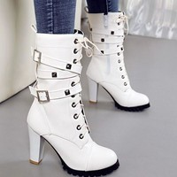New White Round Toe Chunky Rivet Buckle Fashion Mid-Calf Boots