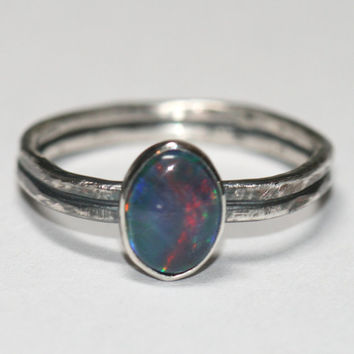 Rustic Blue Opal Ring, Oxidized Fine Silver Double Band, Australian OpaL Ring, US Size 6 Ring Handmade by Maggie McMane Designs
