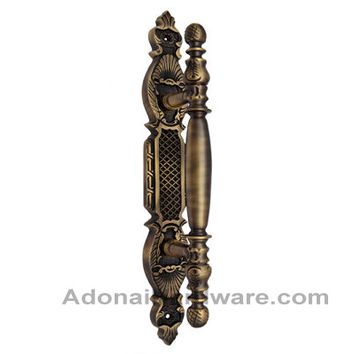 311mm Chedorlaomer Brass Door Pull with Back Plate