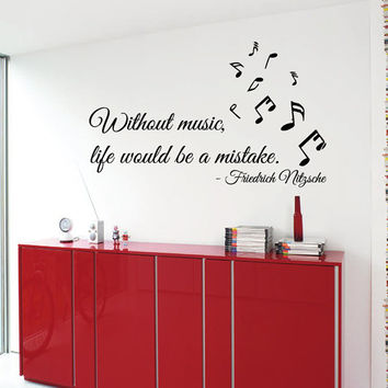 Wall Decals Nitzsche Quote Without Music Life Would Be A Mistake Vinyl Decal Sticker Interior Design Art Mural Kids Nursery Room Decor KG547